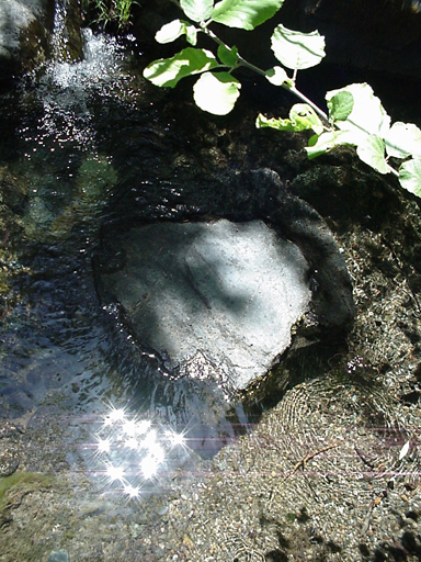 a wonder of the world... this beautiful heart shaped stone is a sitting place beneath this tiny waterfall...